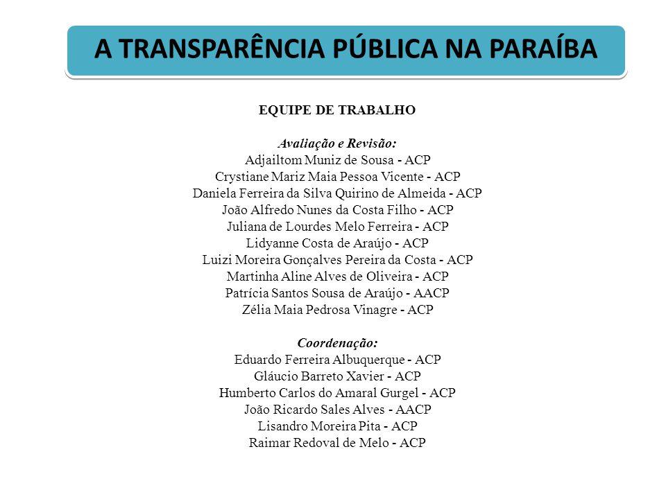 A TRANSPARÊNCIA PÚBLICA NA PARAÍBA EQUIPE DE TRABALHO Avaliação e Revisão: Adjailtom Muniz de Sousa - ACP Crystiane Mariz Maia Pessoa Vicente - ACP Da
