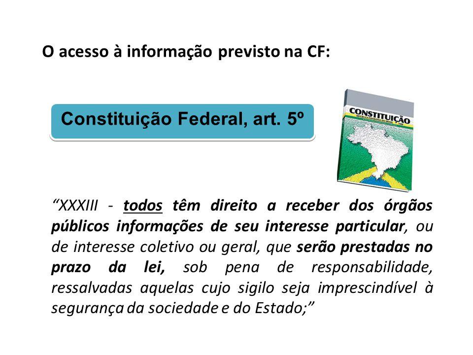 """O acesso à informação previsto na CF: Constituição Federal, art. 5º """"XXXIII - todos têm direito a receber dos órgãos públicos informações de seu inter"""