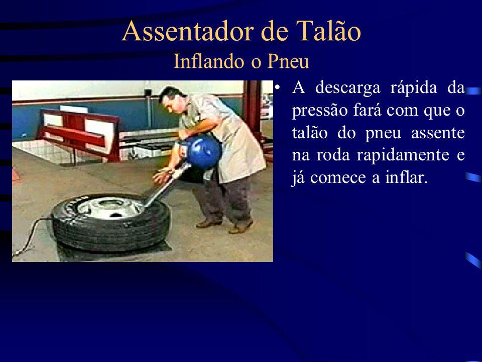 Assentador de Talão Inflando o Pneu A descarga rápida da pressão fará com que o talão do pneu assente na roda rapidamente e já comece a inflar.