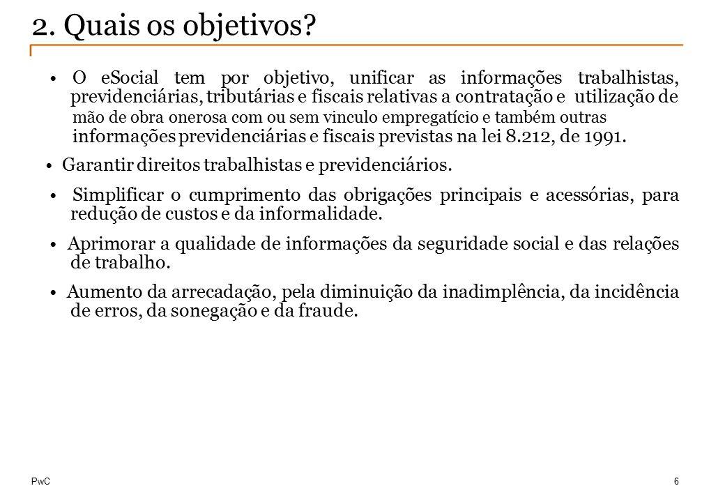 © Compliance Todos os direitos reservados 10 O eSocial tem por objetivo, unificar as informações trabalhistas, previdenciárias, tributárias e fiscais