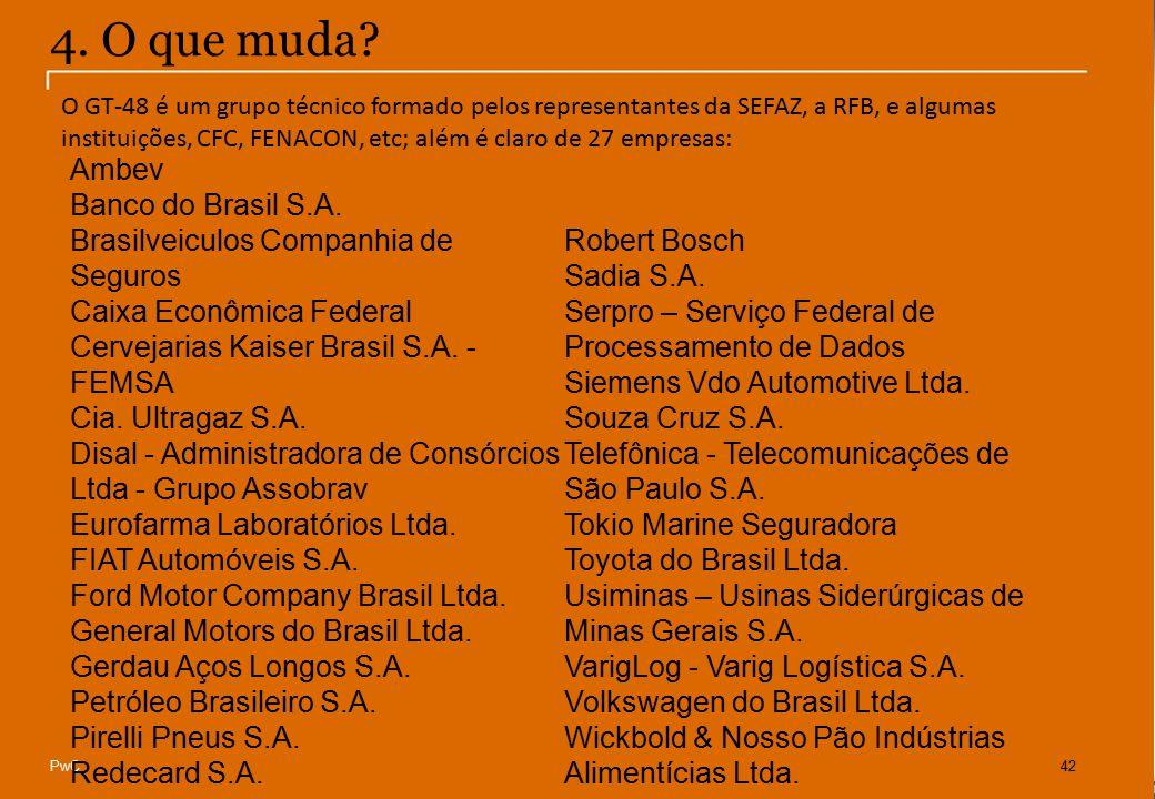 © Compliance Todos os direitos reservados 16 PwC42 4. O que muda? Ambev Banco do Brasil S.A. Brasilveiculos Companhia de Seguros Caixa Econômica Feder