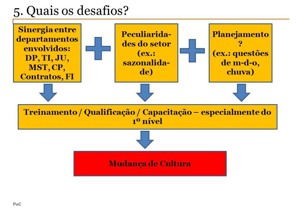 © Compliance Todos os direitos reservados 18 PwC 5. Quais os desafios? Sinergia entre departamentos envolvidos: DP, TI, JU, MST, CP, Contratos, FI Pec