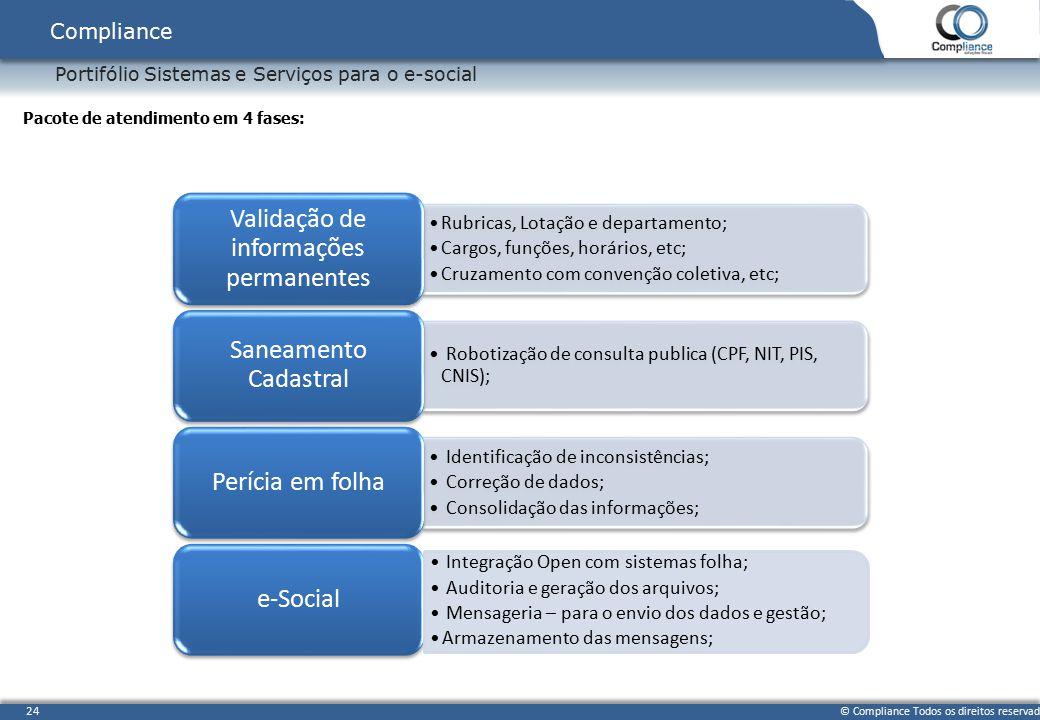 © Compliance Todos os direitos reservados 24 Portifólio Sistemas e Serviços para o e-social Compliance Pacote de atendimento em 4 fases: Rubricas, Lot