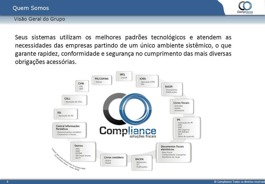 © Compliance Todos os direitos reservados 4 Visão Geral do Grupo Quem Somos Seus sistemas utilizam os melhores padrões tecnológicos e atendem as neces