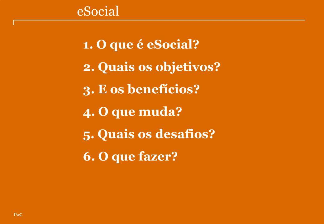 © Compliance Todos os direitos reservados 8 eSocial PwC 1. O que é eSocial? 2. Quais os objetivos? 3. E os benefícios? 4. O que muda? 5. Quais os desa