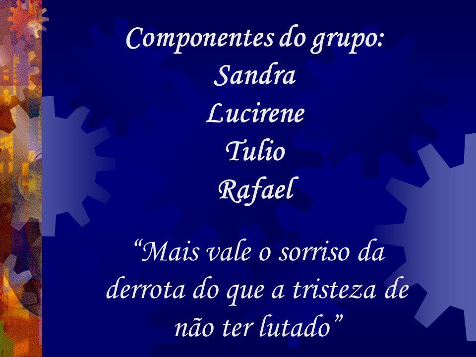 Componentes do grupo: Sandra Lucirene Tulio Rafael Mais vale o sorriso da derrota do que a tristeza de não ter lutado