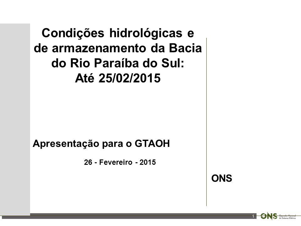 1 Condições hidrológicas e de armazenamento da Bacia do Rio Paraíba do Sul: Até 25/02/2015 Apresentação para o GTAOH 26 - Fevereiro - 2015 ONS
