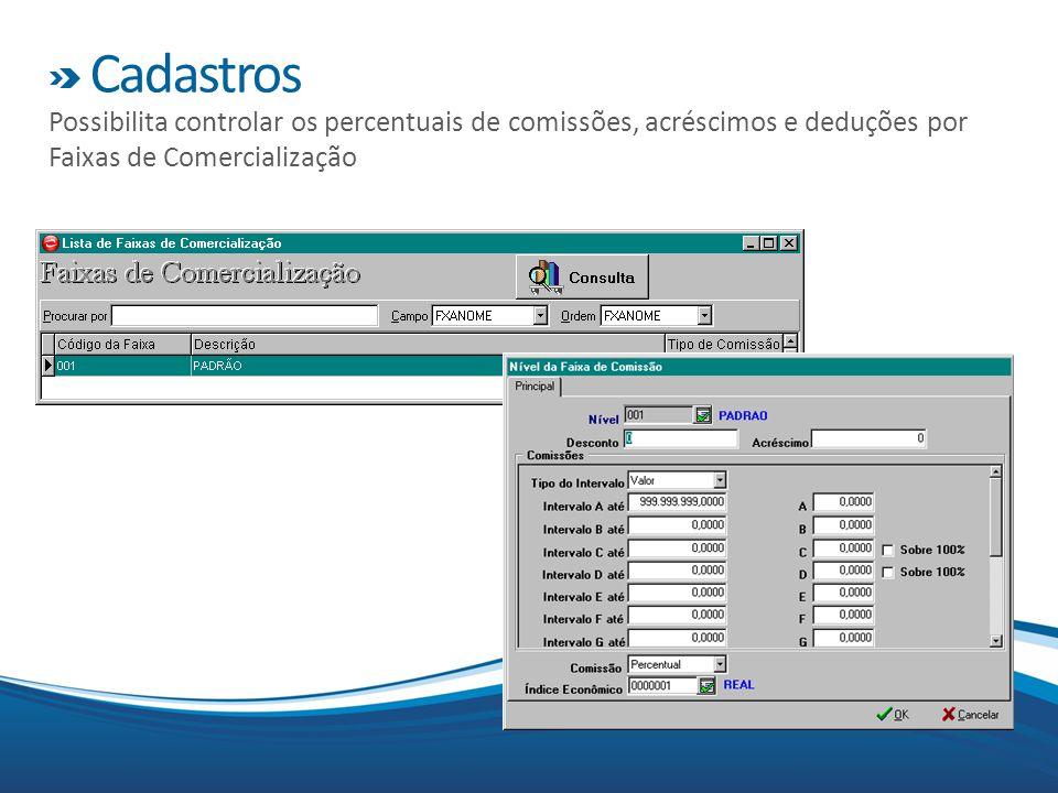 Cadastros Possibilita controlar os percentuais de comissões, acréscimos e deduções por Faixas de Comercialização
