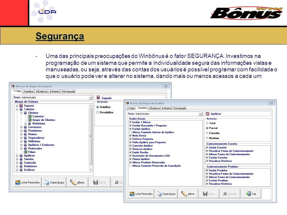 Segurança Uma das principais preocupações do Winbônus é o fator SEGURANÇA.