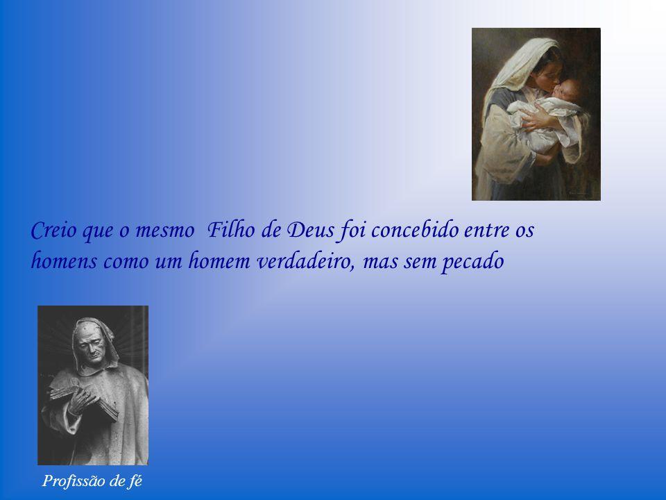 Profissão de fé Creio que a Virgem era castíssima antes do parto, virgem no parto e depois do parto permaneceu inteiramente virgem