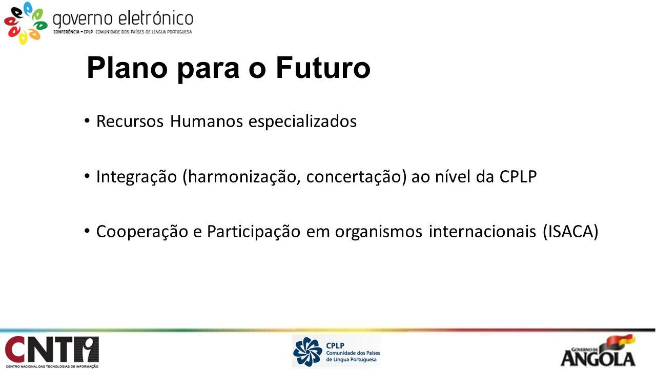 Plano para o Futuro Recursos Humanos especializados Integração (harmonização, concertação) ao nível da CPLP Cooperação e Participação em organismos in