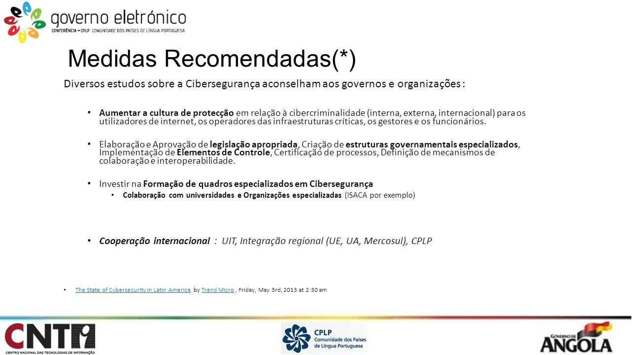 Medidas Recomendadas(*) Diversos estudos sobre a Cibersegurança aconselham aos governos e organizações : Aumentar a cultura de protecção em relação à