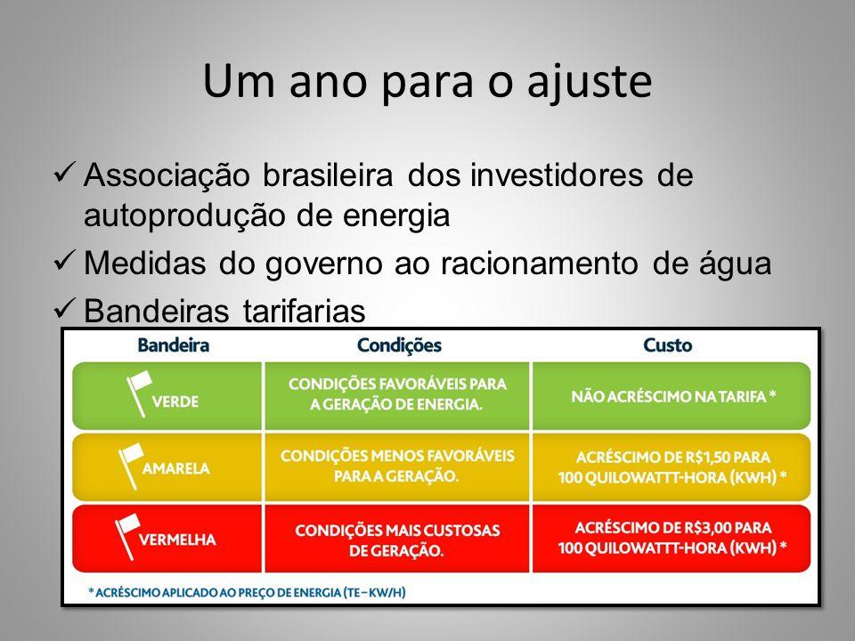 Um ano para o ajuste Associação brasileira dos investidores de autoprodução de energia Medidas do governo ao racionamento de água Bandeiras tarifarias