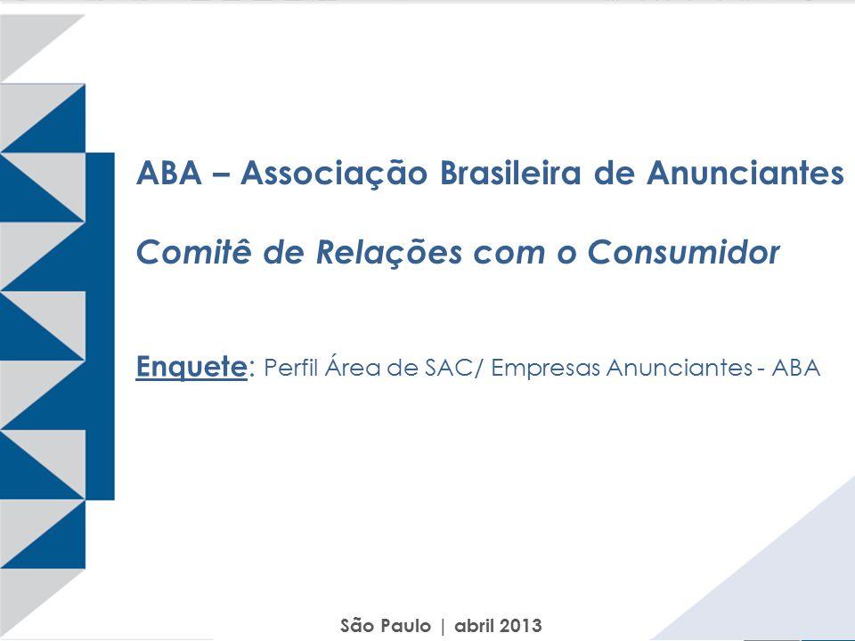 ABA – Associação Brasileira de Anunciantes Comitê de Relações com o Consumidor Enquete : Perfil Área de SAC/ Empresas Anunciantes - ABA São Paulo | ab