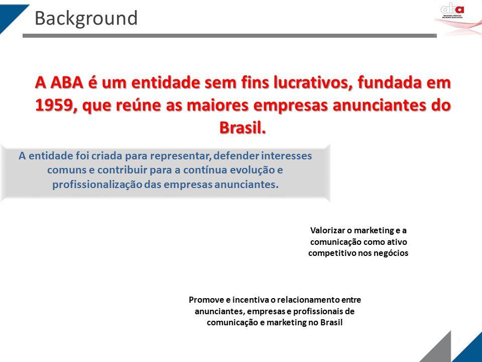 A ABA é um entidade sem fins lucrativos, fundada em 1959, que reúne as maiores empresas anunciantes do Brasil. A entidade foi criada para representar,