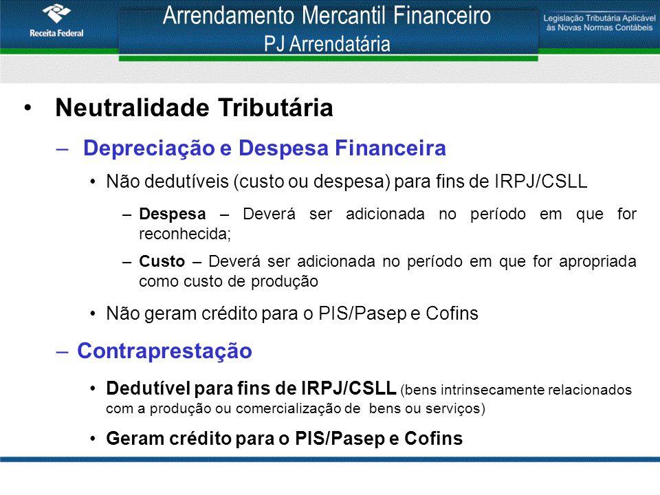 Arrendamento Mercantil Financeiro PJ Arrendatária Neutralidade Tributária – Depreciação e Despesa Financeira Não dedutíveis (custo ou despesa) para fi