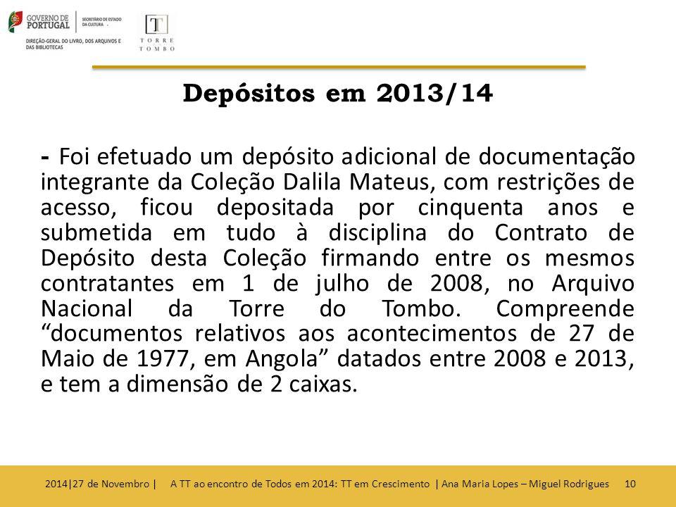 Depósitos em 2013/14 - Foi efetuado um depósito adicional de documentação integrante da Coleção Dalila Mateus, com restrições de acesso, ficou depositada por cinquenta anos e submetida em tudo à disciplina do Contrato de Depósito desta Coleção firmando entre os mesmos contratantes em 1 de julho de 2008, no Arquivo Nacional da Torre do Tombo.