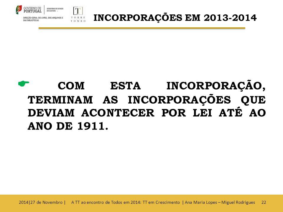  COM ESTA INCORPORAÇÃO, TERMINAM AS INCORPORAÇÕES QUE DEVIAM ACONTECER POR LEI ATÉ AO ANO DE 1911.