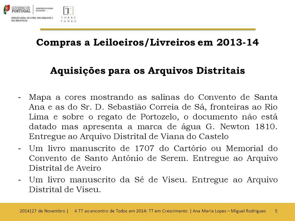 Compras a Leiloeiros/Livreiros em 2013-14 Aquisições para os Arquivos Distritais -Mapa a cores mostrando as salinas do Convento de Santa Ana e as do Sr.