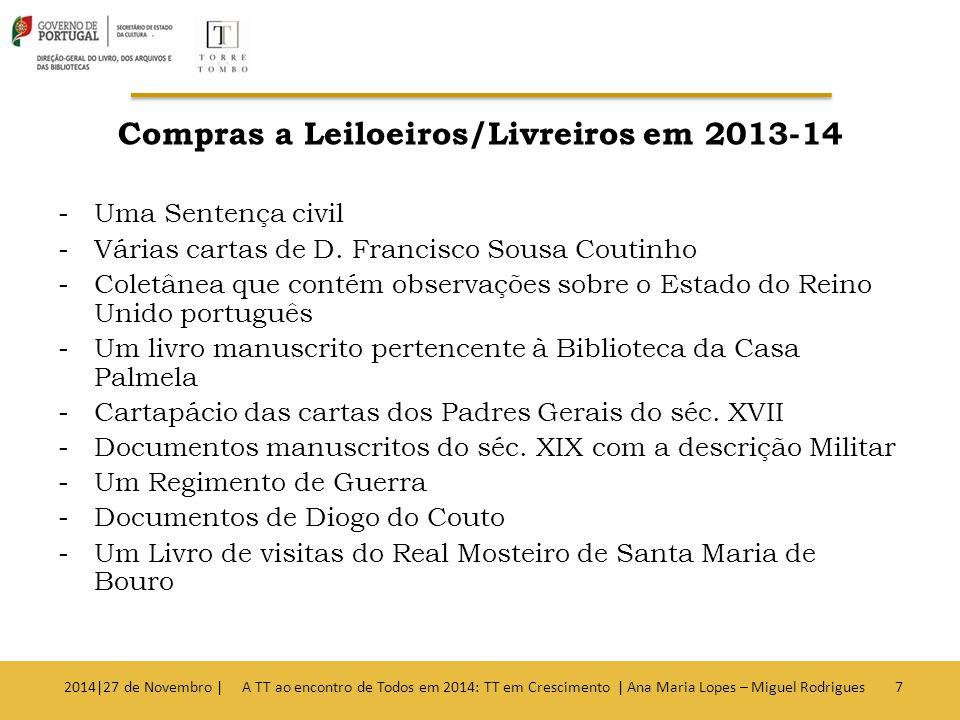 Compras a Leiloeiros/Livreiros em 2013-14 -Uma Sentença civil -Várias cartas de D.