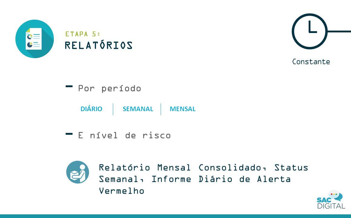 Por período Constante E nível de risco RELATÓRIOS ETAPA 5: Relatório Mensal Consolidado, Status Semanal, Informe Diário de Alerta Vermelho DIÁRIOSEMANALMENSAL