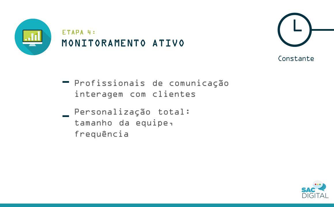 Profissionais de comunicação interagem com clientes Constante Personalização total: tamanho da equipe, frequência MONITORAMENTO ATIVO ETAPA 4: