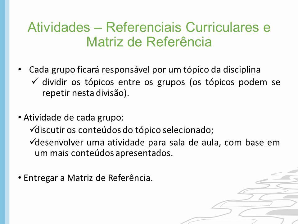 Atividades – Referenciais Curriculares e Matriz de Referência Cada grupo ficará responsável por um tópico da disciplina dividir os tópicos entre os gr