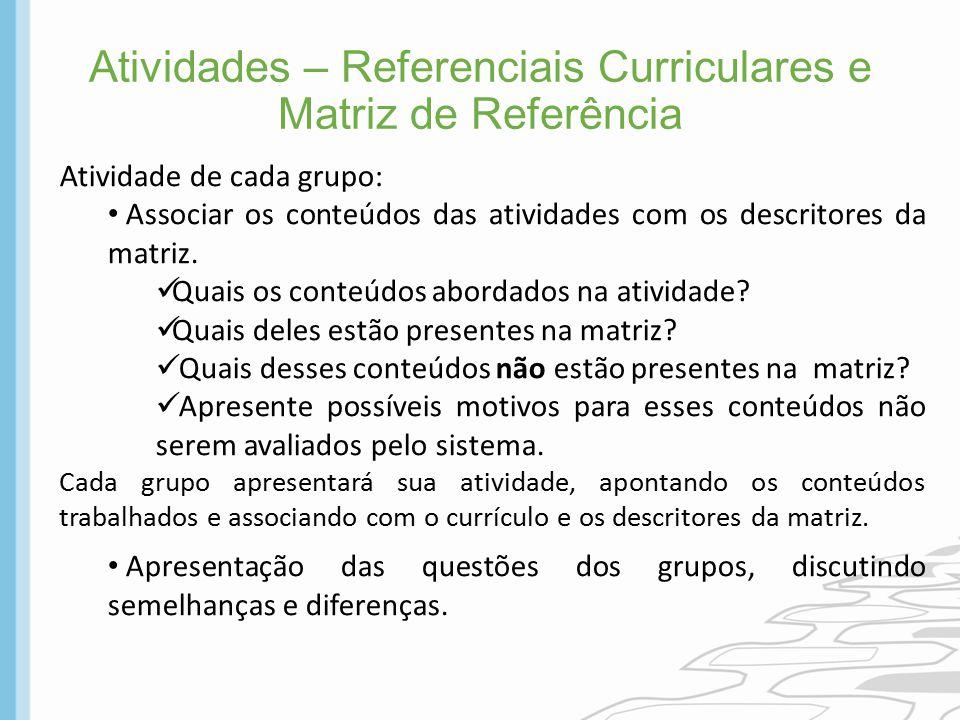 Atividades – Referenciais Curriculares e Matriz de Referência Atividade de cada grupo: Associar os conteúdos das atividades com os descritores da matr