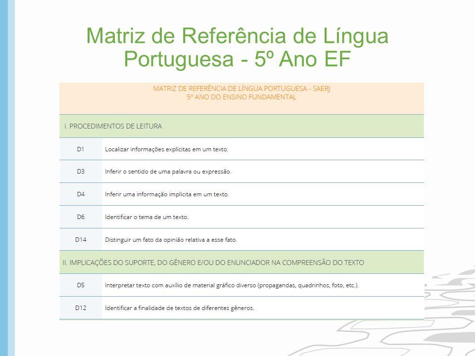 Matriz de Referência de Língua Portuguesa - 5º Ano EF