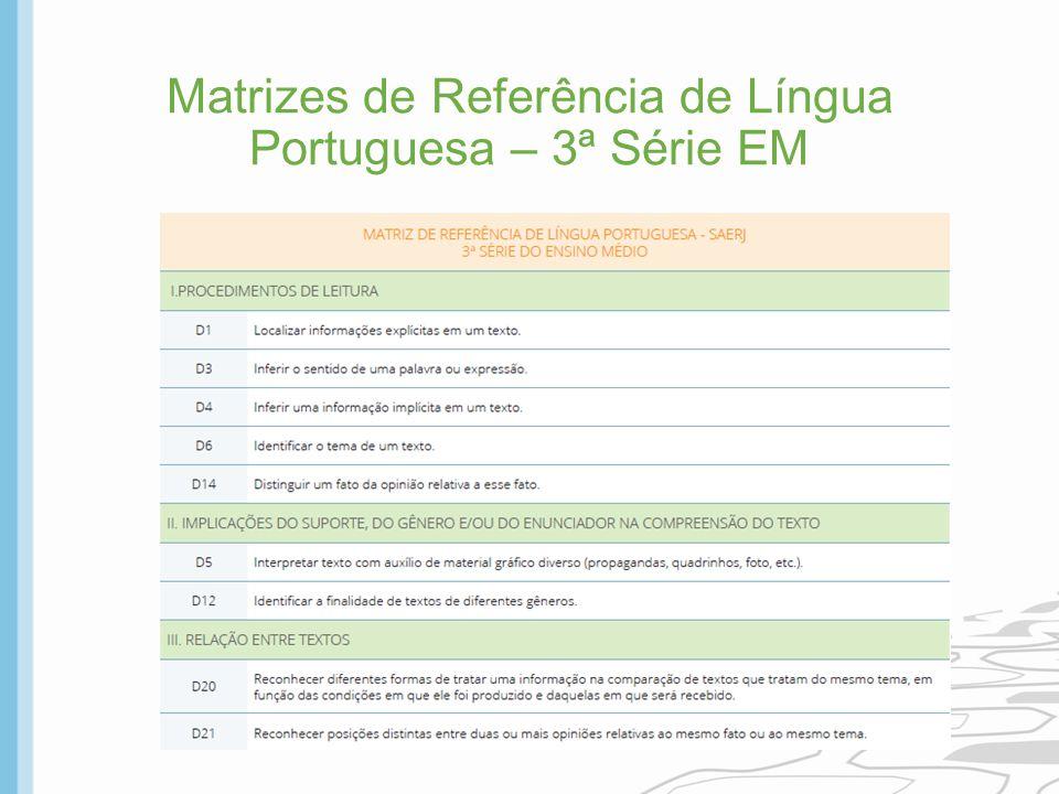 Matrizes de Referência de Língua Portuguesa – 3ª Série EM