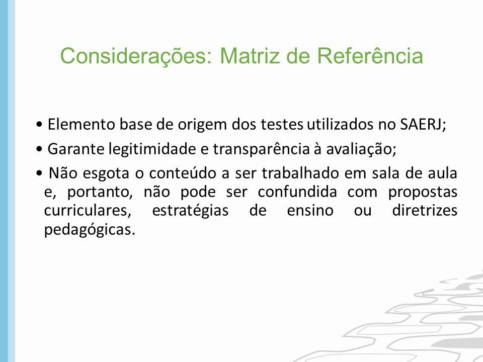 Considerações: Matriz de Referência Elemento base de origem dos testes utilizados no SAERJ; Garante legitimidade e transparência à avaliação; Não esgo