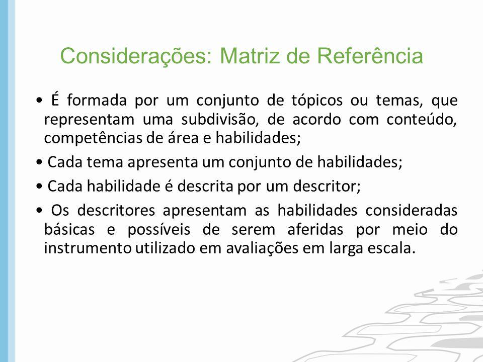 Considerações: Matriz de Referência É formada por um conjunto de tópicos ou temas, que representam uma subdivisão, de acordo com conteúdo, competência