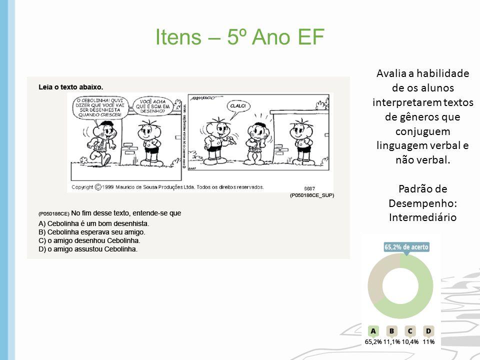 Itens – 5º Ano EF Avalia a habilidade de os alunos interpretarem textos de gêneros que conjuguem linguagem verbal e não verbal. Padrão de Desempenho: