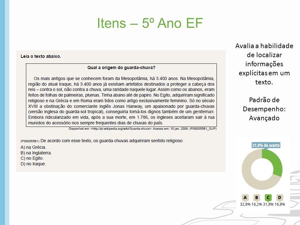 Itens – 5º Ano EF Avalia a habilidade de localizar informações explícitas em um texto. Padrão de Desempenho: Avançado