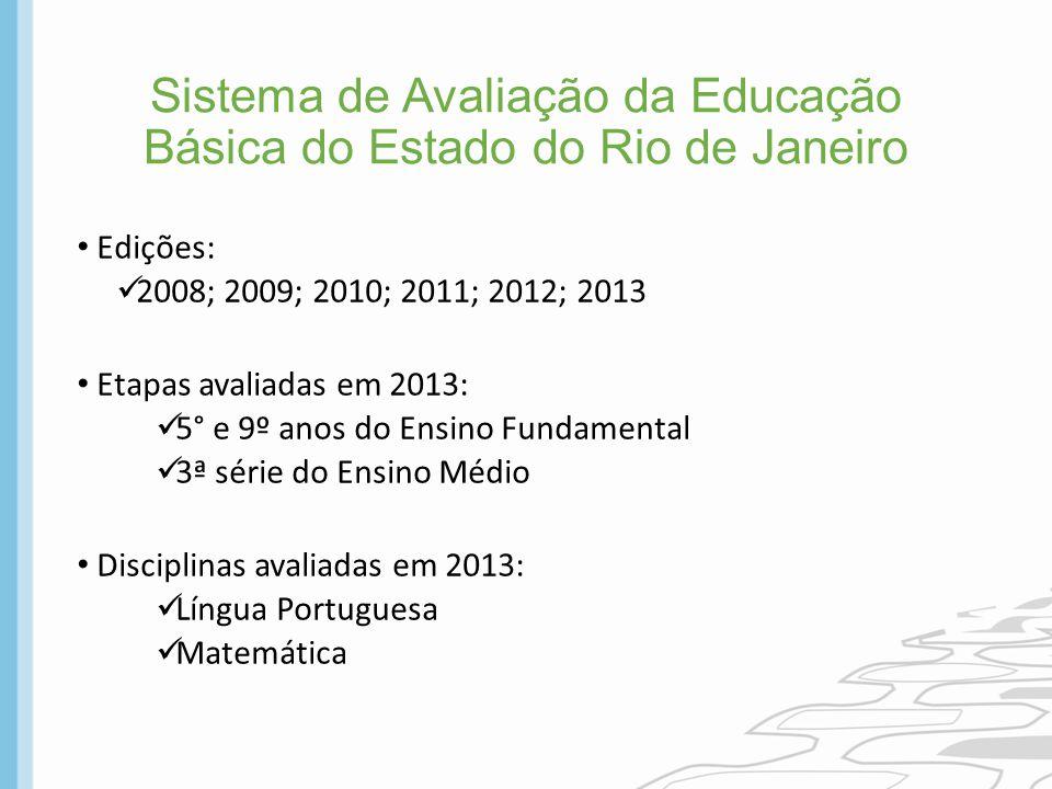 Sistema de Avaliação da Educação Básica do Estado do Rio de Janeiro Edições: 2008; 2009; 2010; 2011; 2012; 2013 Etapas avaliadas em 2013: 5° e 9º anos