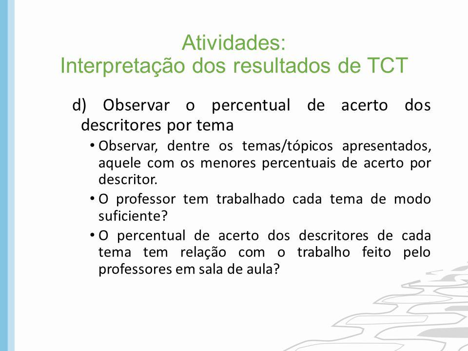 Atividades: Interpretação dos resultados de TCT d) Observar o percentual de acerto dos descritores por tema Observar, dentre os temas/tópicos apresent