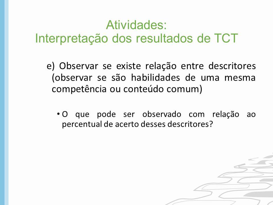 Atividades: Interpretação dos resultados de TCT e) Observar se existe relação entre descritores (observar se são habilidades de uma mesma competência