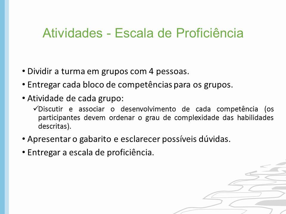 Atividades - Escala de Proficiência Dividir a turma em grupos com 4 pessoas. Entregar cada bloco de competências para os grupos. Atividade de cada gru