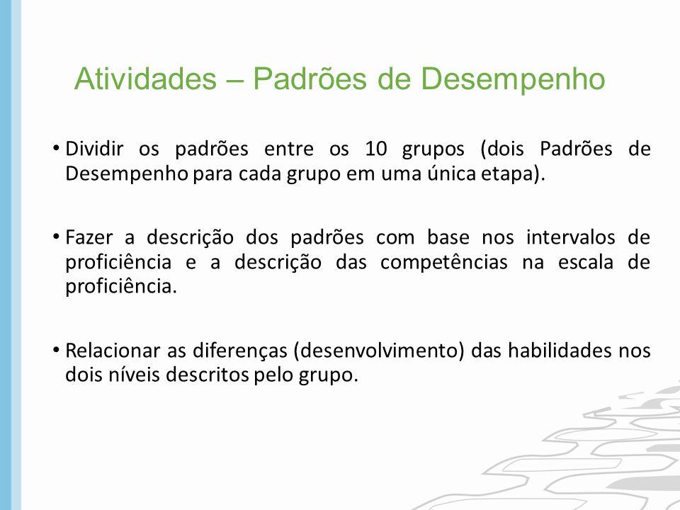 Atividades – Padrões de Desempenho Dividir os padrões entre os 10 grupos (dois Padrões de Desempenho para cada grupo em uma única etapa). Fazer a desc