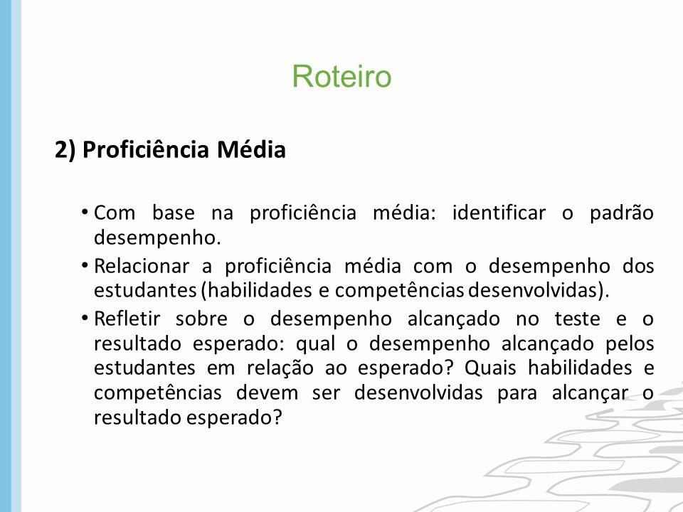 Roteiro 2) Proficiência Média Com base na proficiência média: identificar o padrão desempenho. Relacionar a proficiência média com o desempenho dos es