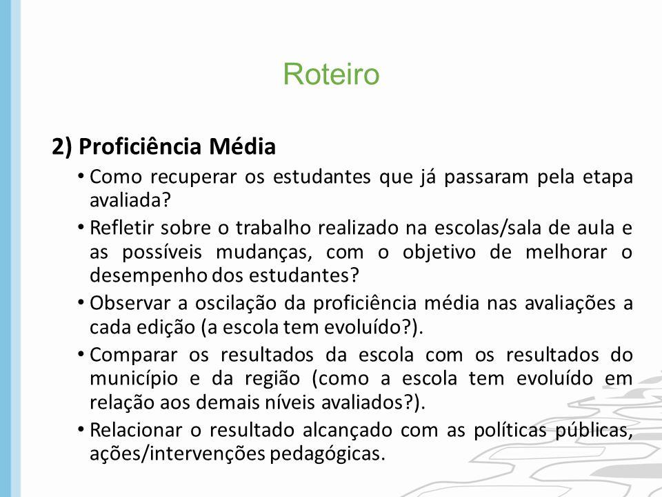 Roteiro 2) Proficiência Média Como recuperar os estudantes que já passaram pela etapa avaliada? Refletir sobre o trabalho realizado na escolas/sala de