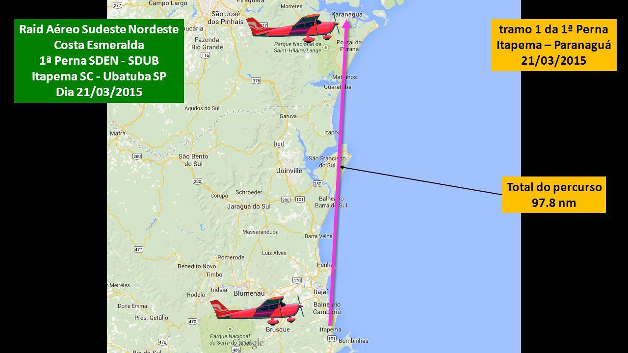 Total do percurso 97.8 nm tramo 1 da 1ª Perna Itapema – Paranaguá 21/03/2015 Raid Aéreo Sudeste Nordeste Costa Esmeralda 1ª Perna SDEN - SDUB Itapema