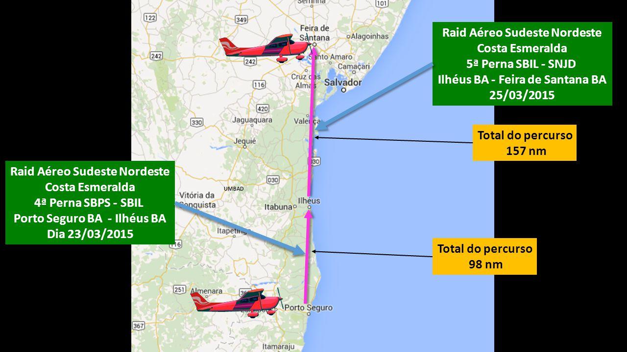 Total do percurso 157 nm UMBAD Total do percurso 98 nm Raid Aéreo Sudeste Nordeste Costa Esmeralda 4ª Perna SBPS - SBIL Porto Seguro BA - Ilhéus BA Di