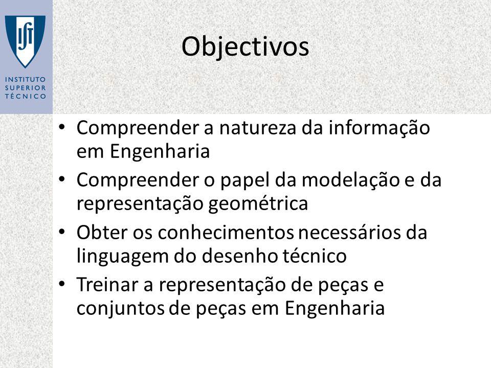 Objectivos Compreender a natureza da informação em Engenharia Compreender o papel da modelação e da representação geométrica Obter os conhecimentos ne
