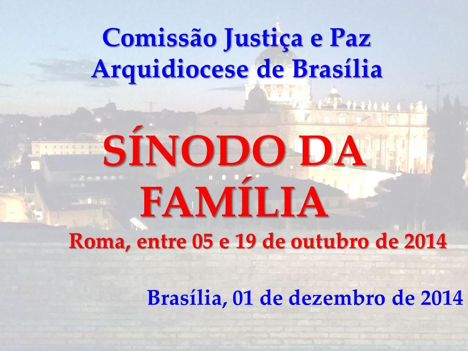 Comissão Justiça e Paz Arquidiocese de Brasília SÍNODO DA FAMÍLIA Roma, entre 05 e 19 de outubro de 2014 Brasília, 01 de dezembro de 2014