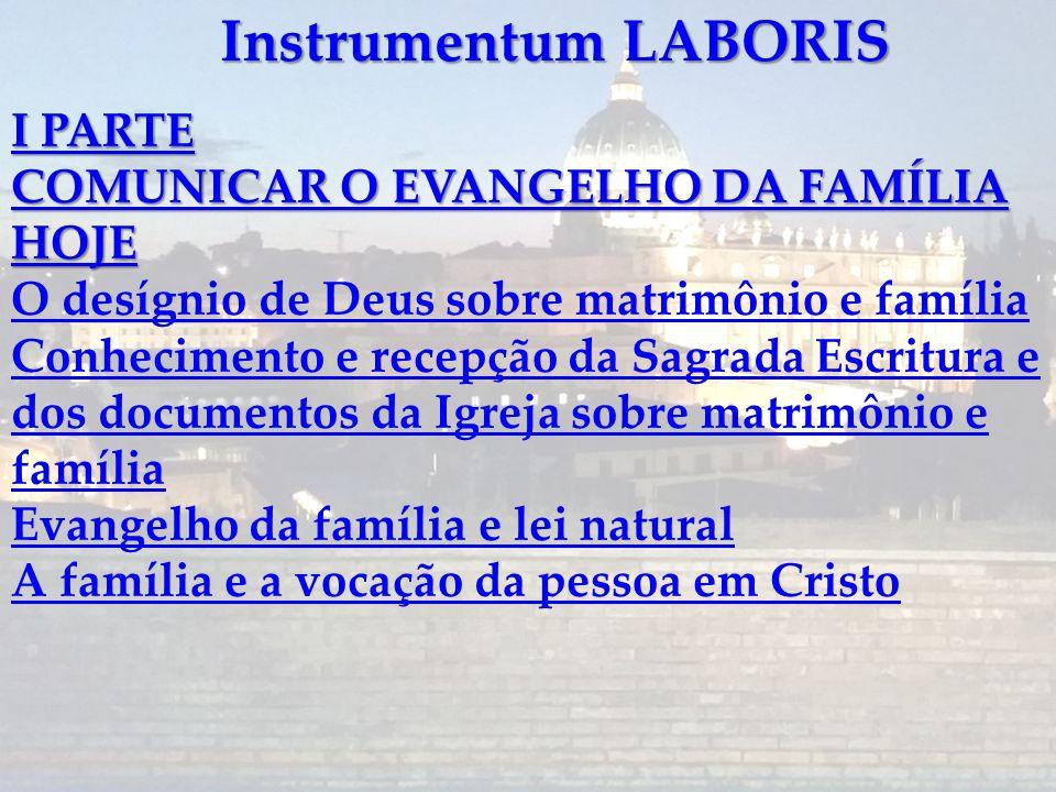 Instrumentum LABORIS II PARTE A PASTORAL DA FAMÍLIA FACE AOS NOVOS DESAFIOS Capítulo I A pastoral da família: as várias propostas em ação Capítulo II
