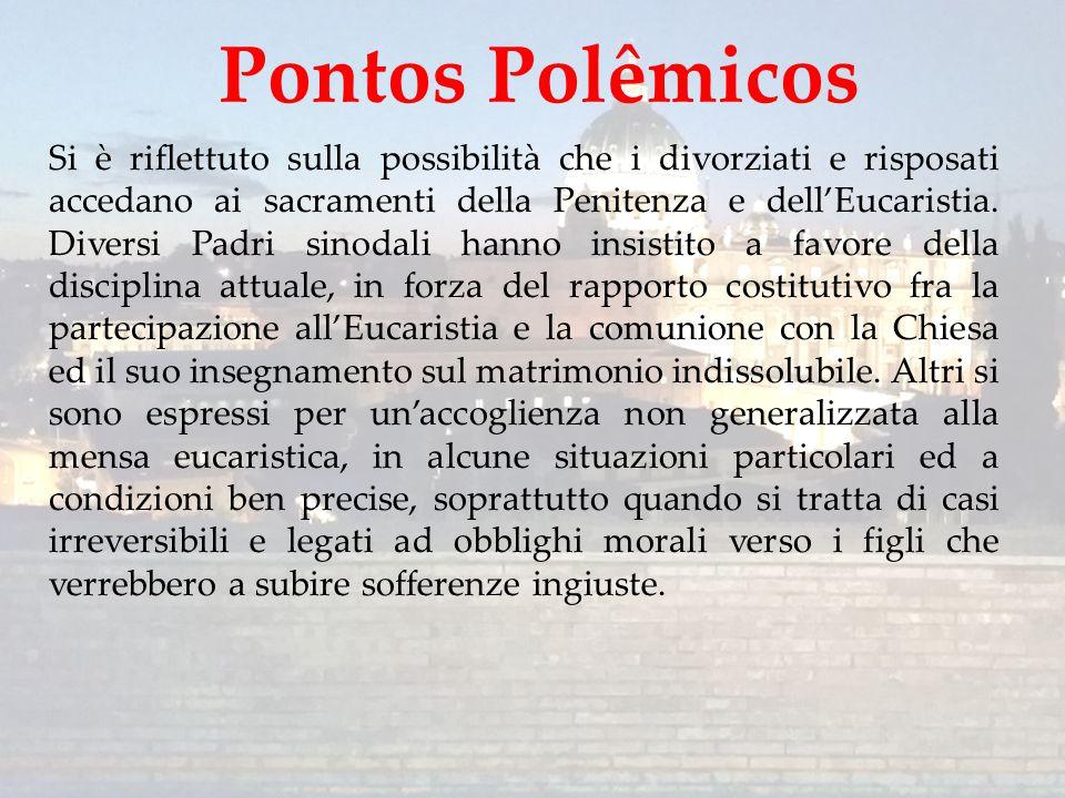 Si è riflettuto sulla possibilità che i divorziati e risposati accedano ai sacramenti della Penitenza e dell'Eucaristia. Diversi Padri sinodali hanno