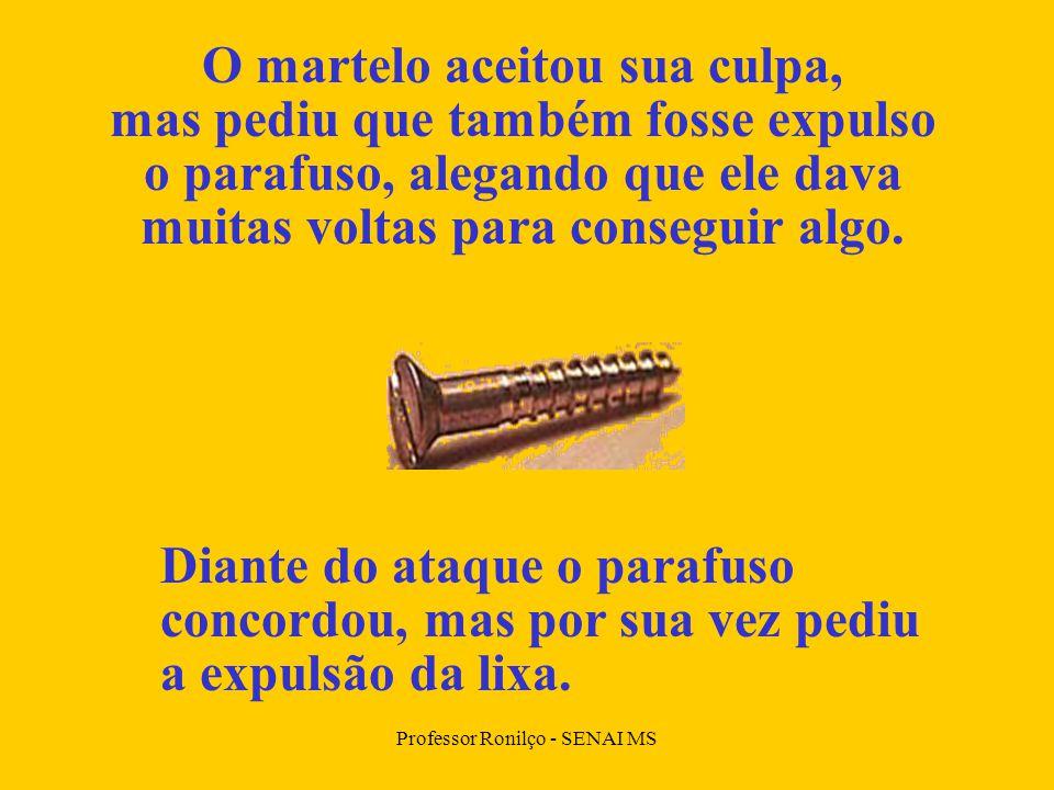 Professor Ronilço - SENAI MS O martelo aceitou sua culpa, mas pediu que também fosse expulso o parafuso, alegando que ele dava muitas voltas para conseguir algo.
