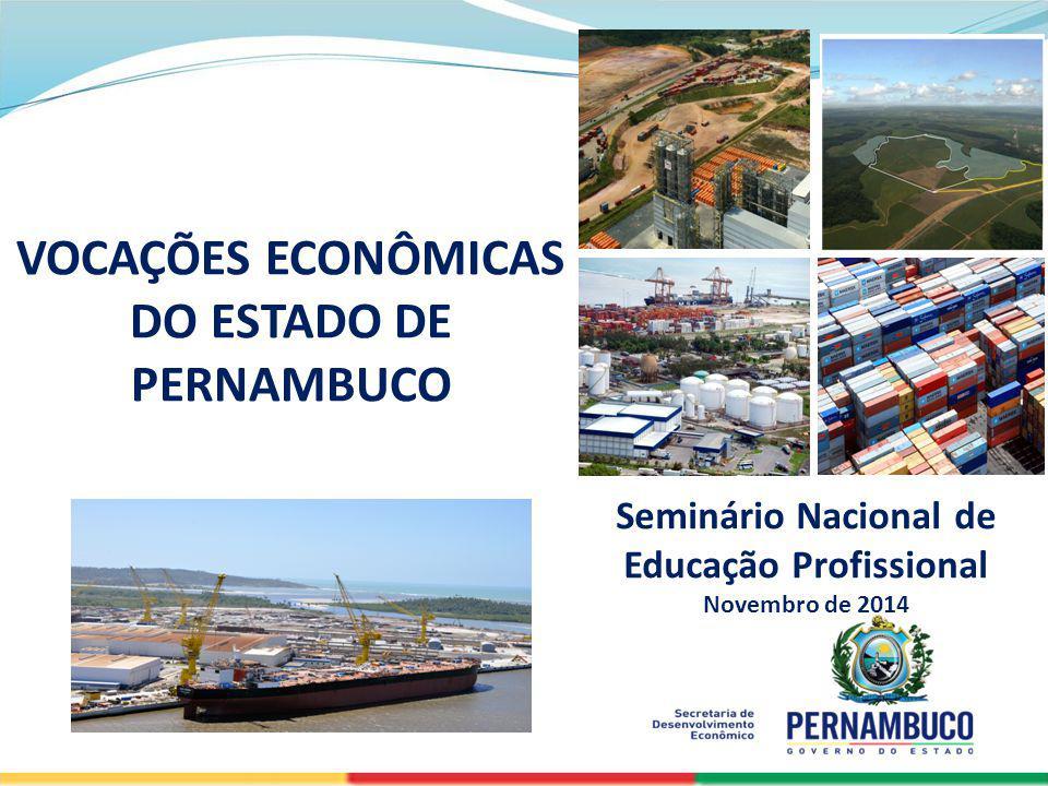 SECRETERIA DE DESENVOLVIMENTO ECONÔMICO Seminário Nacional de Educação Profissional Novembro de 2014 VOCAÇÕES ECONÔMICAS DO ESTADO DE PERNAMBUCO