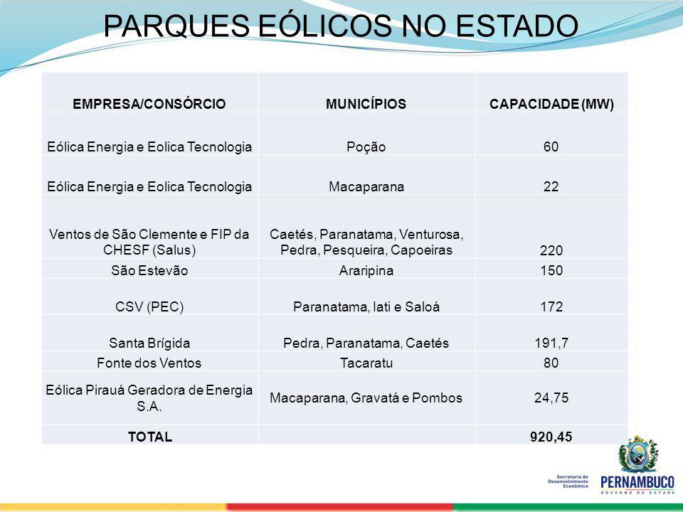 SECRETERIA DE DESENVOLVIMENTO ECONÔMICO 13 PARQUES EÓLICOS NO ESTADO EMPRESA/CONSÓRCIOMUNICÍPIOSCAPACIDADE (MW) Eólica Energia e Eolica TecnologiaPoçã